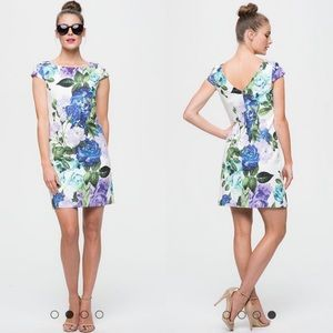 Eliza J Cap Sleeve Floral Quilted Sheath Dress